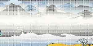 LICHTENSTEIN 1997 Landscape with Scholar's Rock