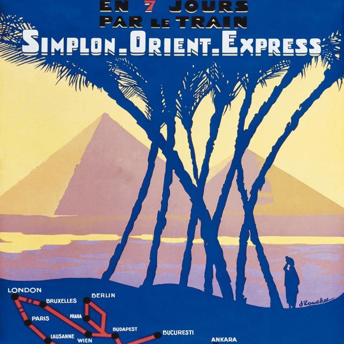"""Affche """" Londres-Le Caire en 7 jours par le Simplon-Orient-Expre"""