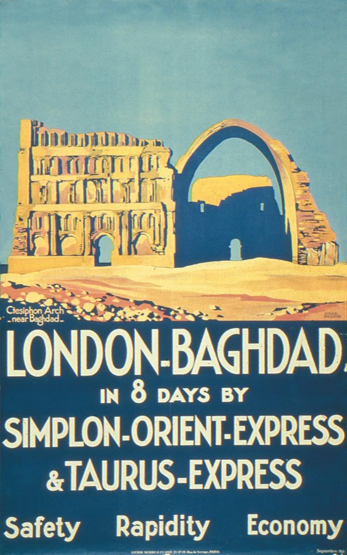 """Affiche """" London-Bagdad en 8 jours par le Simplon-Orient-Express, et le Taurus-Express """"."""